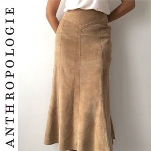ANTHROPOLOGIE JUNE Suede Leather Boho A Line Skirt